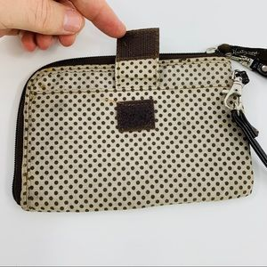 Thirty - One Brown and Tan Polka Dot Wristlet
